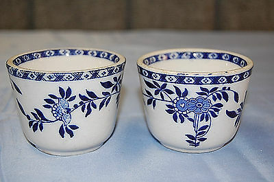 Two, Antique, Flow Blue - Delph, Custard Cups, James M. Shaw Co., 1900's - S3679