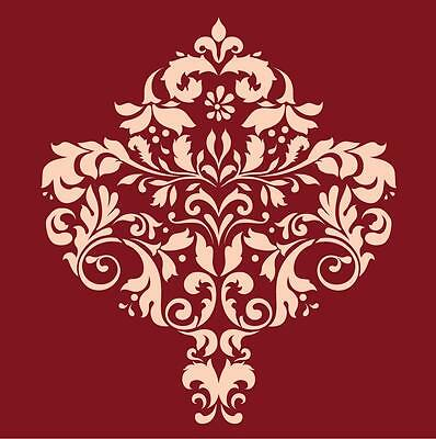 Large Wall Damask Stencil Pattern Faux Mural  #1001