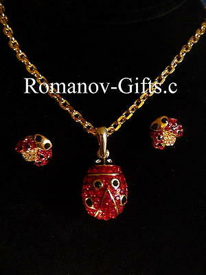 Russian Imperial Empress Marie FABERGE SET! LADY BUG Earrings (Posts)& Necklace