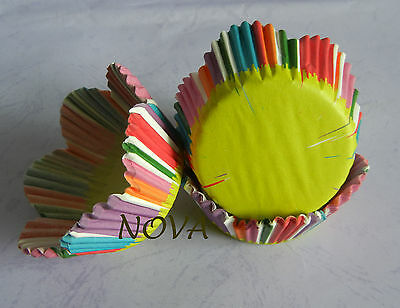 50 rainbow stripes green bottom petals cupcake liners baking paper cup
