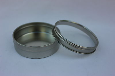 2.5oz Round FLAT Tin Containers Clear Top Lids  12  NEW  Candles, Spices, Beads