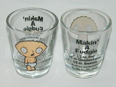 The Family Guy Stewie Makin' A Fudgie Illustrated Recipe ShotGlass NEW UNUSED