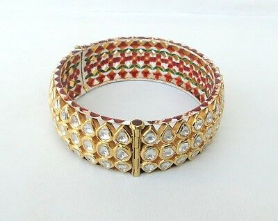 Vintage Antique 20K Gold Diamond Polki Kundan Bracelet Bangle Rajasthan India
