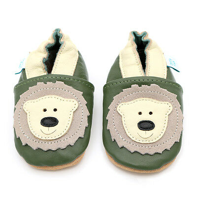 Dotty Fish Soft Leather Baby & Toddler Shoes - Green Bear - 0-6 Month - 3-4 Year