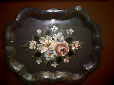 Beautiful Large Vintage Teal Toleware Tray - Excellent