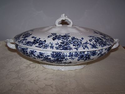 FLOW BLUE TRANSFERWARE KILLARNEY COVERED VEGETABLE HANDLED ENGLISH SERVING BOWL