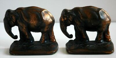 Pair of Vintage Antique Cast Iron Bookends of Grazing Elephants