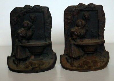 Pair of Vintage Cast Iron 19th Century Bookends Girl Drinking At A Fountain