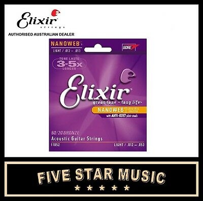 ELIXIR Nanoweb Light Acoustic Bronze Guitar Strings - 1 Set - 12-53 11052