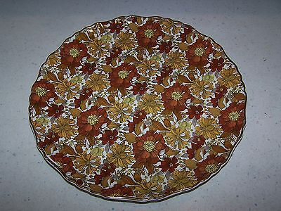 OLD FOLEY JAMES KENT LTD. 10 1/2'' BROWN CHINTZ PLATE STAFFORDSHIRE ENGLAND