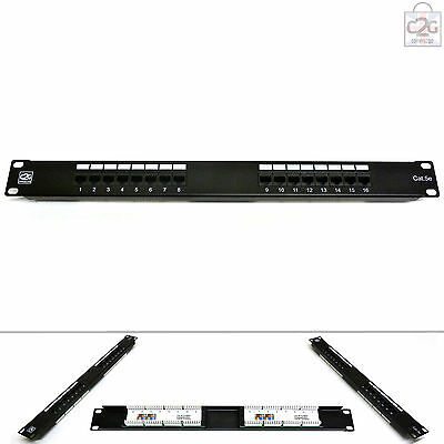 "Cat5E RJ45 GIGABIT  Patch Panel 16 Way Port 1U 19"" Network Comms Rack Mount"