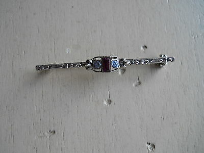 Silvertone Rhinestone Bar Pin Brooch