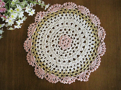 Lovely Flower Pink Yellow White Mixed Color Hand Crochet Cotton Round Doily