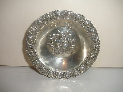 Antique vintage Hazorfim  Israeli Silver Repousse rose flowers footed claw bowl