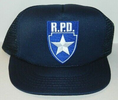 Resident Evil R.P.D. Silver Star Blue Logo Shield Patch Baseball Hat, NEW UNWORN