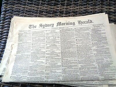 SYDNEY MORNING HERALD original 1877 12 page broadsheet small hoard sold per each