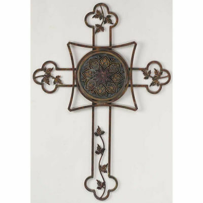 Metal Wall Cross With Leaves