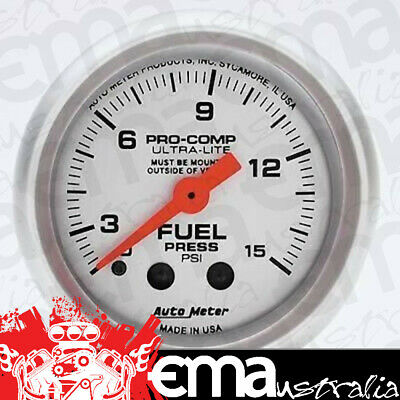 "Autometer Ultralite 2-1/16"" Fuel Pressure Gauge 0-15 Psi With Isolator Au4313"