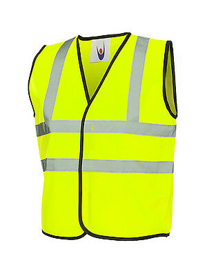 4 x Kids Yellow Hi Vis Vests Childrens High Viz Visibility Waistcoats (UC806)