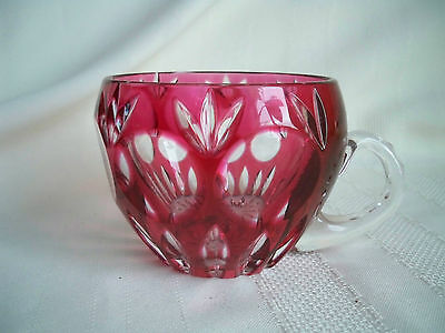Vintage Anna Hutte? Ruby Red Cut to Clear Punch Cup Rendition / Bamberg
