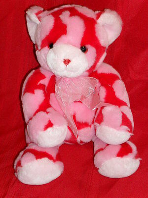 """14"""" stuffed Animal Alley beanbag plush PINK & RED VALENTINE'S DAY HEARTS BEAR"""
