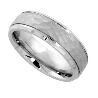 6mm Stainless Steel Hammered Center Wedding Band Ring, Grooved Beveled Edges
