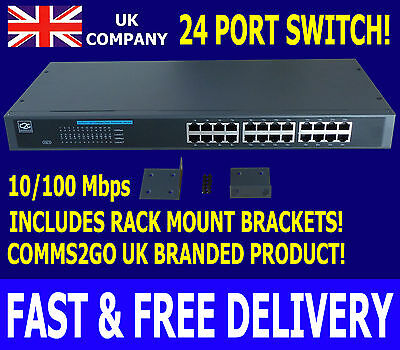 "10/100Mbps 24 Way/Port Switch 19"" Comms Rack Mount Network Ethernet LAN Cabinet!"