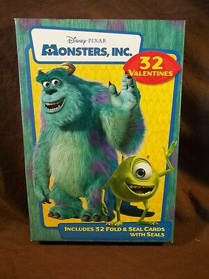 2001 Disney Pixar Monsters Inc. 32 Valentines Day Cards With Seals New In Box