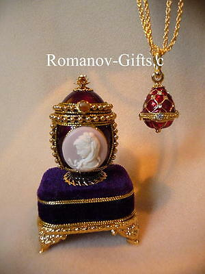 """Russian Imperial Empress Alexandra Cameo EGG Plays """"Overture"""" & Necklace"""