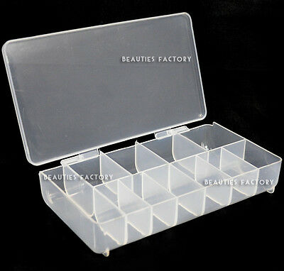 Large Empty 11 Space Nail Art Tip / Deco Storage Box Case 363F