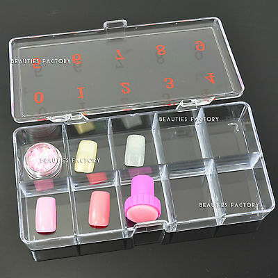 Large Empty 10 Space Nail Art Tip Storage Case #363A