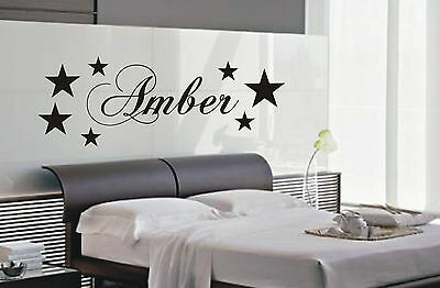 Personalised Star wall art sticker name style B, Kid bedroom wall stickers
