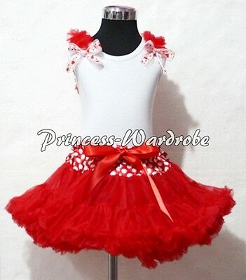 Minnie Waist Red Pettiskirt White Pettitop Top in Red Heart Bows Ruffle Set 1-8Y