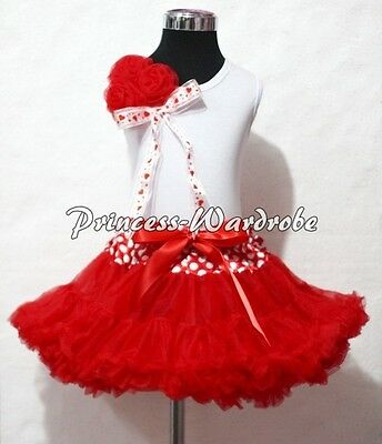 White Pettitop Top Red Heart Bow Rose Minnie Waist Red Pettiskirt Set Girl 1-8Y