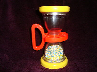 """Fisher Price #451 Shake n Roll rattle hour glass 6""""H"""