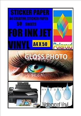 50 White A4 Inkjet Self adhesive Stickers Gloss Photo Quality Vinyl Coated