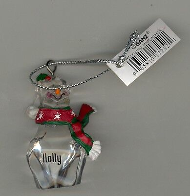 Ganz Clear Glass Resin Scarf Ornament Personalized HOLLY New With Tags