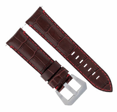 24Mm Leather Watch Band Strap For Pam 44Mm Panerai Marina Gmt Brown Red Stitch#9