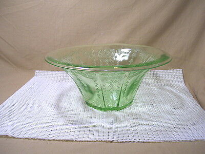 Vintage Anchor Hocking Depression Glass Princess Green Pattern Round Bowl