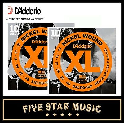 2 x 10 Packs of D'Addario EXL110 Guitar Strings 10-46 (20 sets) XL110 DADDARIO