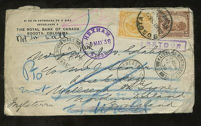 COLOMBIA 1938 ROYAL BANK CANADA to HEXHAM GB UNKNOWN + RETURNED...14 POSTMARKS
