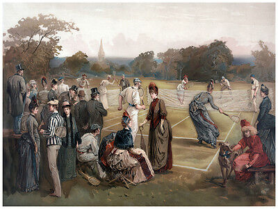 1800's Decor Tennis Tournament Poster. Fine Graphic Art. Sport Wall Design 1283