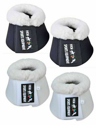 HKM German Padded Fleece Lined Over Reach Boots/Bell Boots - Black or White