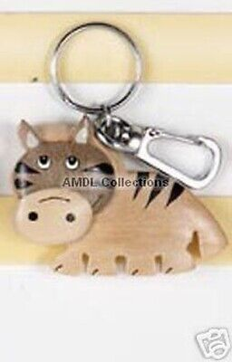 "Wildlife Domestic Animals: Zebra 2.5"" Wooden Keychain"