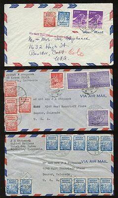 INDONESIA 1952-4 AIRMAIL to USA...MULTI FRANKINGS 70 stamps on 11 COVERS
