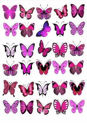 30 X Pretty Pink Mixed Butterflies Birthday Wedding Edible Cupcake Toppers M60