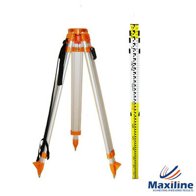 Aluminium Tripod + 4M Laser Level staff Kit for Rotary Laser Level Dumpy Levels
