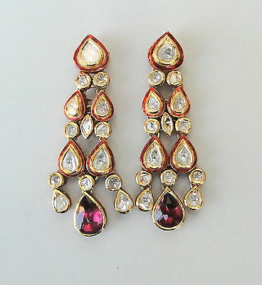 Vintage Antique Solid 20K Gold Diamond Polki Kundan Enamel Work Earring Pair Ind