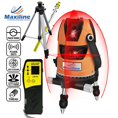 4V1H Red Self Levelling Cross Line Laser Level w Detector + Tripod and Staff