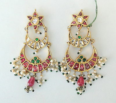 Vintage Antique 20K Gold Diamond Polki Ruby Emerald Pearl Earring Pair India